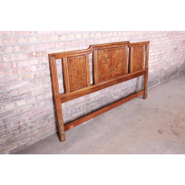 Mid-Century Modern Drexel Heritage Hollywood Regency Chinoiserie King Size Headboard For Sale - Image 3 of 10