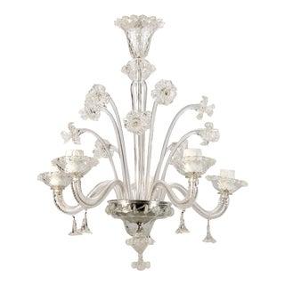 Italian Venetian Four-Light Clear Glass Daffodil Chandelier