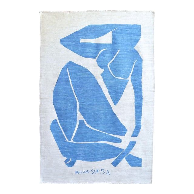 Henri Matisse - Blue Nude 3 - Inspired Silk Hand Woven Rug Flat Weave Area - Wall Rug 4′8″ × 7′ For Sale