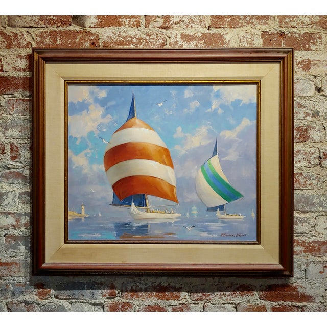 Blue Redmond Stephens Wright - Colorful Sailing Boats -Oil Painting For Sale - Image 8 of 8