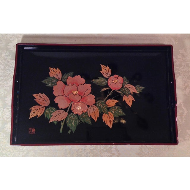 Mid-Century Modern Japanese Lacquer Tray With Floral Design - Image 6 of 11