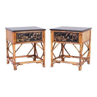 Bamboo and Lacquer Stands or Tables - A Pair For Sale
