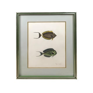 Yellow and Green Sturgeon Fish Gouache Painting In Silver Frame For Sale