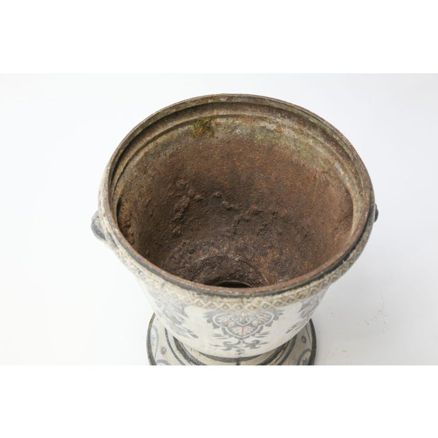 Metal Enameled Cast Iron Rouen Urn For Sale - Image 7 of 13