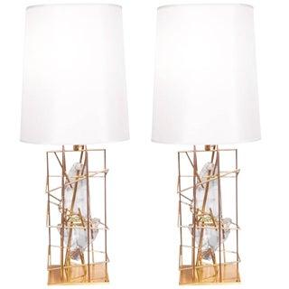 "Pair of Table Lamps ""Gabbia Con Schegge Anice"" by Roberto Giulio Rida For Sale"
