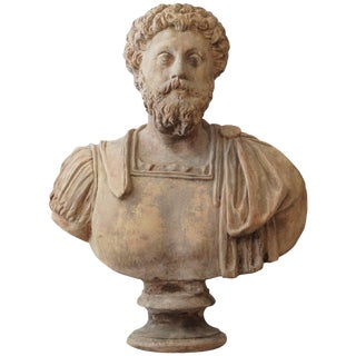 Late 19th Century Terra Cotta Bust of Marco Aurelio For Sale