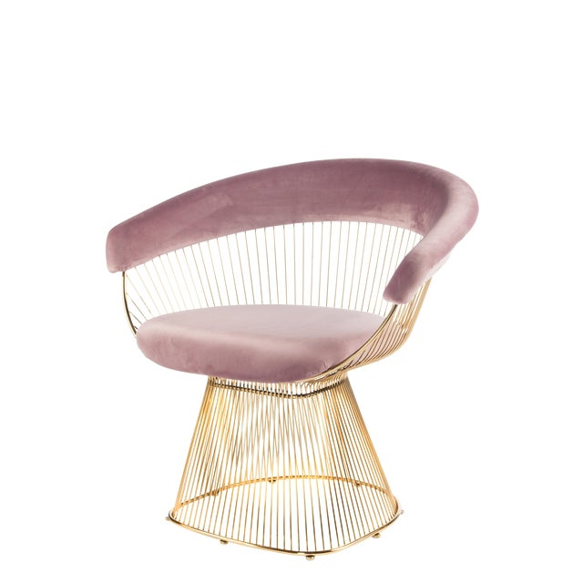 Hollywood Regency Mid-Century Modern Soleil Gold & Pink Accent Chair For Sale - Image 3 of 3