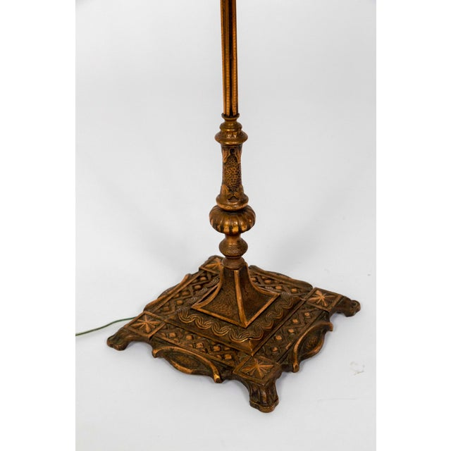 1930's Deco Inspired Copper Floor Lamp For Sale - Image 4 of 9