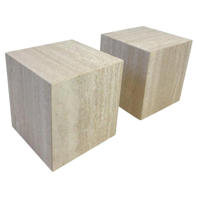 Italian Travertine Side Tables - a Pair For Sale