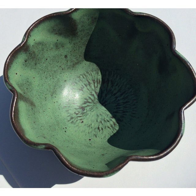 Studio Rosette Flower Green Ceramic Bowl - Image 3 of 6
