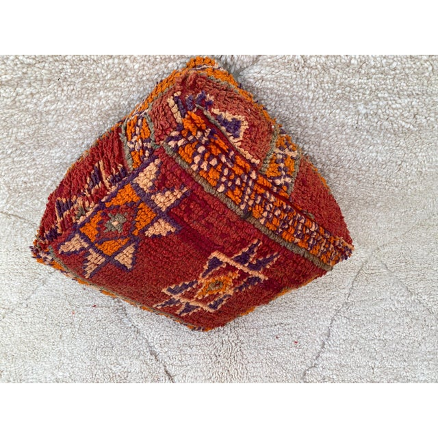 Moroccan Red Unstuffed Pouf For Sale - Image 11 of 13