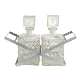 Mid-Century Modern 2 Bottle Decanter Set & Holder For Sale