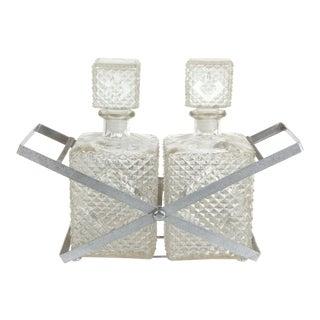 Mid-Century Modern 2 Bottle Decanter Set & Holder For Sale