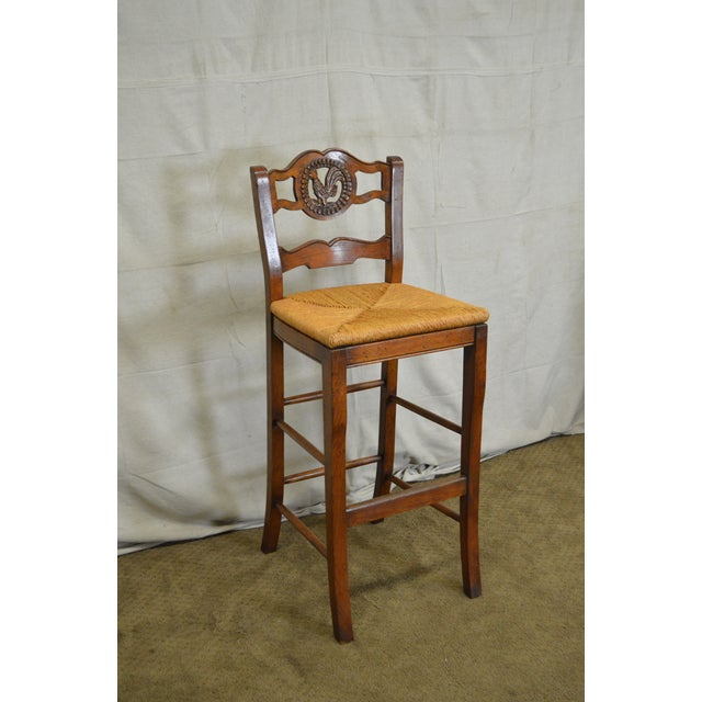 French Country Carved Rooster Ladder Back Rush Seat Bar