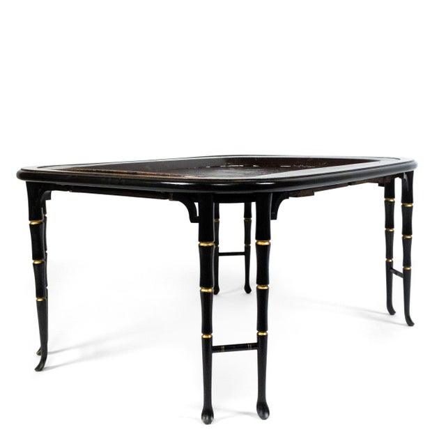 English Regency Brown Lacquered Coffee Table For Sale In New York - Image 6 of 10