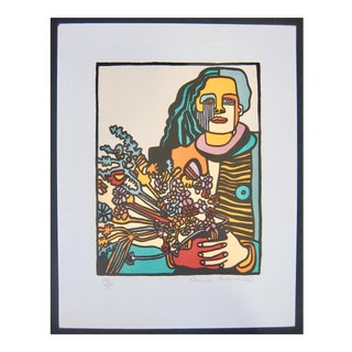 Anna Thornhill Woman With Flowers Signed Limited Edition Lithograph Print For Sale