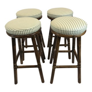 1990s Vintage McGuire Bamboo Bar Stools- Set of 4 For Sale