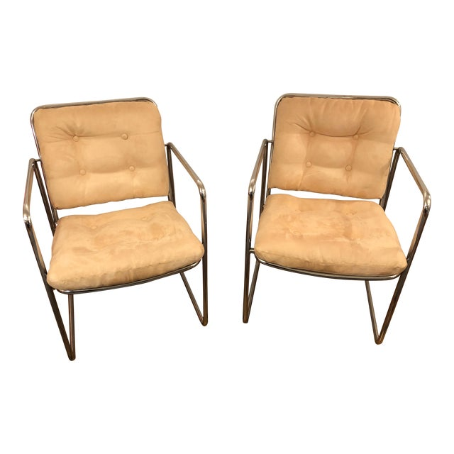 Milo Baughman Style Mid Century Modern Ultra Suede and Chrome Club Chairs- a Pair For Sale