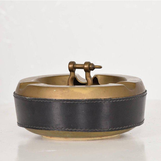 Gold Hermes Style Brass and Leather Ashtray, Italy, 1960s For Sale - Image 8 of 8