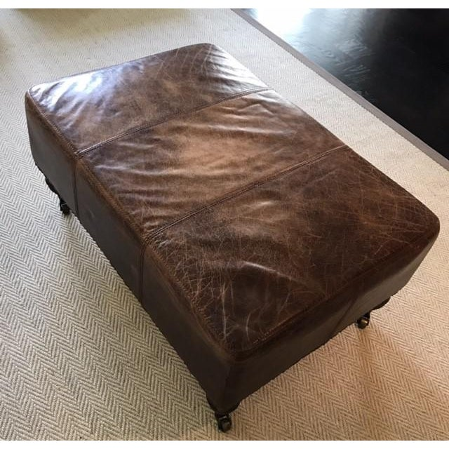 Antique Brown Leather Ottoman - Image 3 of 5