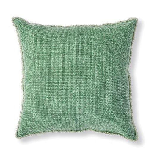 Modern Kenneth Ludwig Chicago Woven Fringe Green Euro Pillow For Sale - Image 3 of 3
