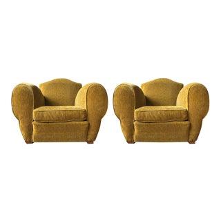 1940s Art Deco Gold Velvet Armchairs - a Pair For Sale