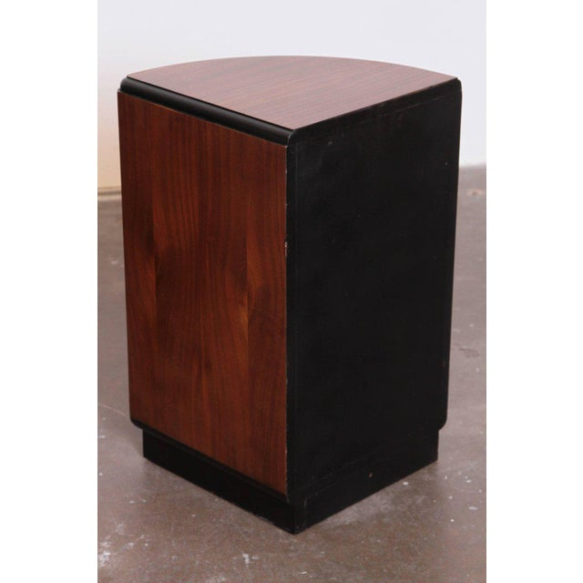 Pair of Art Deco Half Demilune Ribbon Mahogany Corner Occasional Tables For Sale - Image 10 of 11