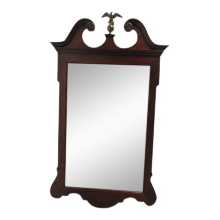 Antique Mahogany Carved Broken Arch Brass Eagle Dresser Hanging Wall Mirror For Sale