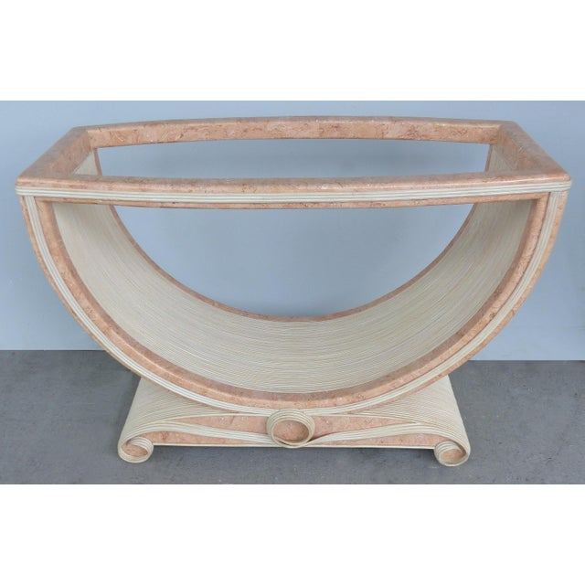 Gabriella Crespi Gabriella Crespi Style Reed and Faux Painted Marble Console Table or Dining Base For Sale - Image 4 of 13