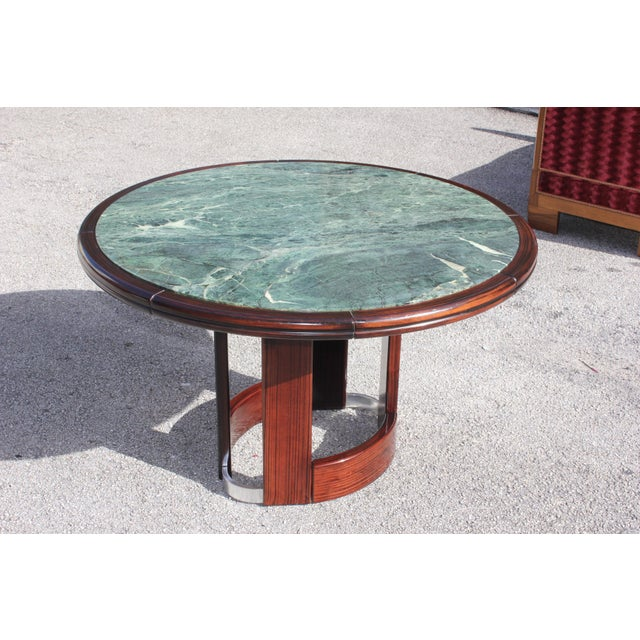 French Art Deco Macassar Ebony Round Center Table With Green Marble Top For Sale - Image 13 of 13