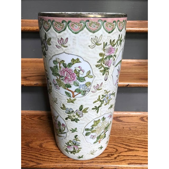 Chinoiserie Pink Umbrella Stand For Sale - Image 5 of 5