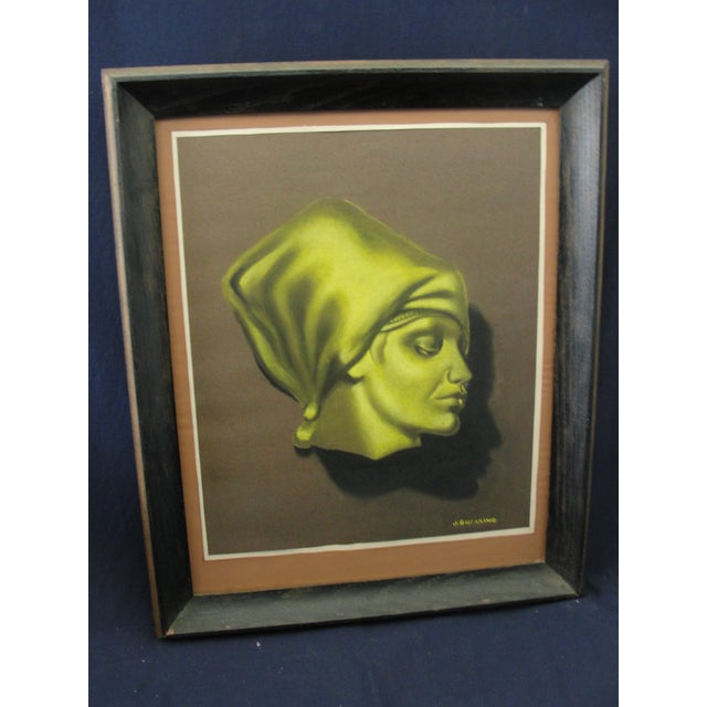 Chalk Vintage Pastel Chalk Drawing Portrait of a Woman by J. Sucarino For Sale - Image 7 of 7