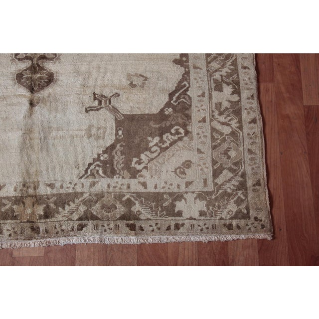 Cotton Vintage Turkish Oushak Beige Medallion Wool Rug - 4′4″ × 6′ For Sale - Image 7 of 9