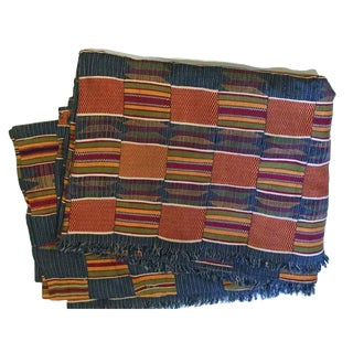 Vintage African Hand Made Kente Cloth Textile Blanket / Throw Bedding Coverlet For Sale