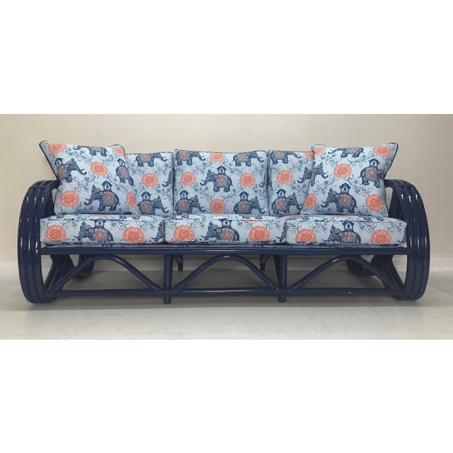 Vintage Navy Pretzel Rattan Sofa For Sale In West Palm - Image 6 of 7