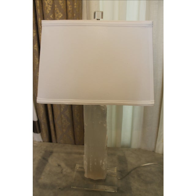 Satin Spur stone lamp, stone is placed on an acrylic base, lamp tube is behind the stone (mined in the United States)...