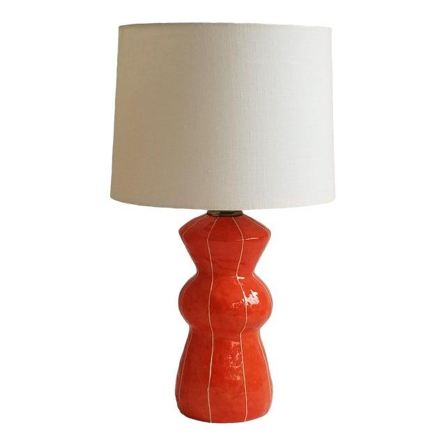Contemporary Kri Kri Studio Coral Red Ceramic Table Lamp For Sale