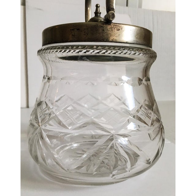 1930s Slack and Barlow English Cut-Glass and Silver Biscuit Jar For Sale - Image 5 of 11