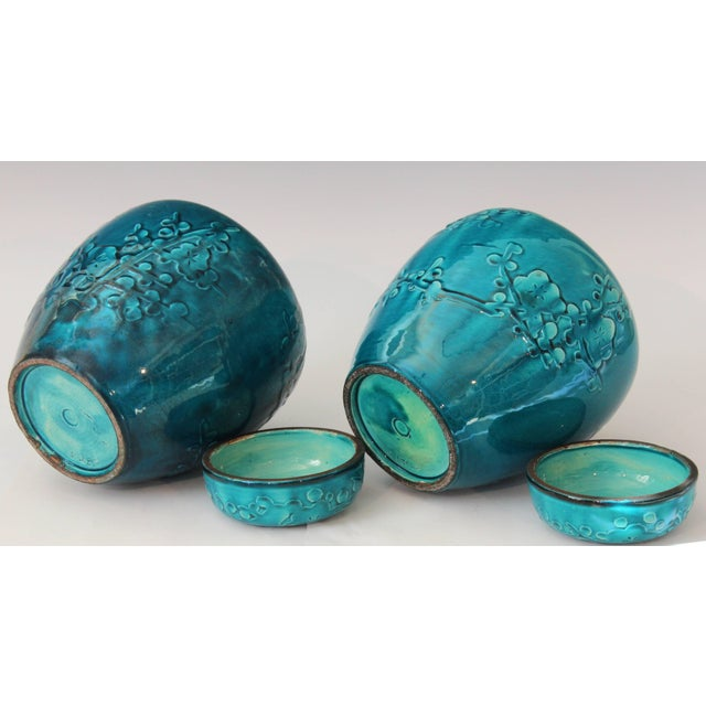 1930s Turquoise Awaji Pottery Ginger Jars, Covers Applied and Incised Prunus - a Pair For Sale - Image 5 of 9