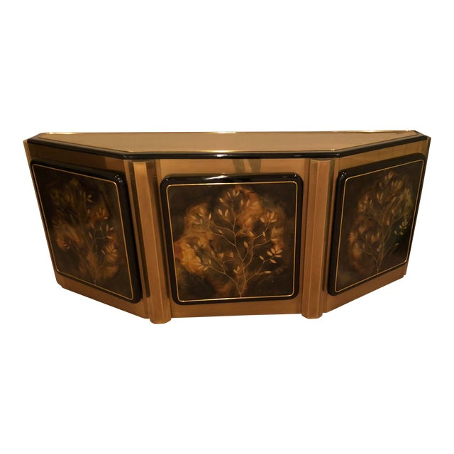 Bernhard Rohne for Mastercraft Tree of Life Solid Brass and Black Lacquer Credenza For Sale