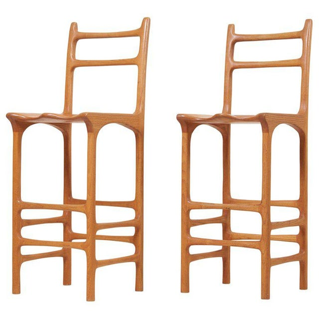 Wood Pair of Tall Back Studio Bar Stools, Us, 1970s For Sale - Image 7 of 7