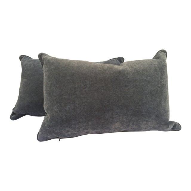 Velvet Cape Cod Blue Pillows - a Pair - Image 1 of 8
