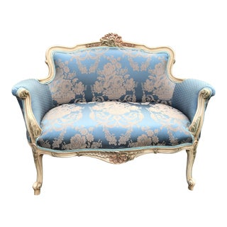 Contemporary Blue and White French Louis XVI Style Settee For Sale