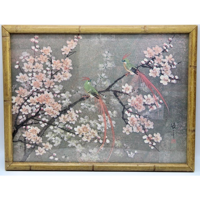 Wood Vintage Exotic Birds Print in Faux Bamboo Wood Frame For Sale - Image 7 of 8