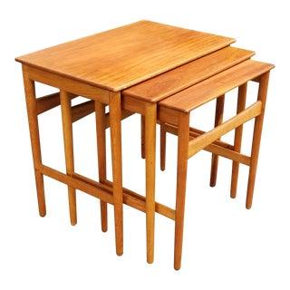 1950s Danish Modern Hans Wegner Teak Nesting Tables - Set of 3