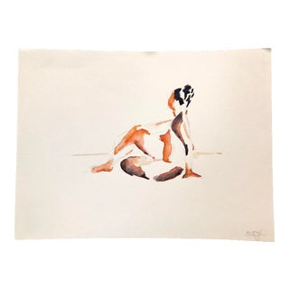 Contemporary Nude Unframed Watercolor Painting For Sale