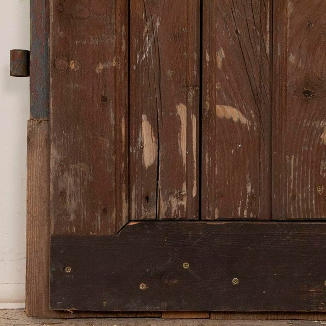 Brown Antique Original Brown Painted Barn Doors - a Pair For Sale - Image 8 of 9