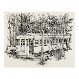 """Abandoned Street Car"" Pen & Ink Drawing For Sale"
