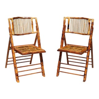 Vintage Bamboo and Tortoise Rattan Folding Chairs For Sale