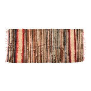 Antique 19th-Century Woven Rag Rug Runner For Sale